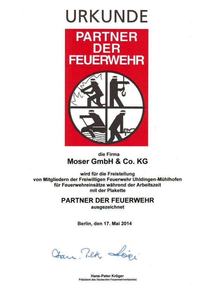 Urkunde Partner der Feuerwehr - ewaldmoser.de
